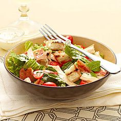 Chicken BLT Salad with Buttermilk Dressing  Recipe developed by Laraine Perri  Prep time: 10 minutes  Cook time: 10 minutes  Makes: 4 servings CLICK ON THE PICTURE FOR FULL RECIPE