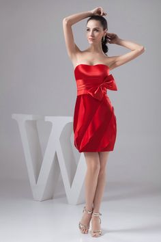 Fashion Color Column Mini Satin Sweetheat Red Vintage Cocktail Dress £64.99