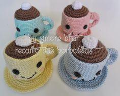 <3 Olha aí...... saindo mais um Conjunto \o/ Xícaras de café com creme Amigurumi. :) Vem saber mais aqui: http://recantodasborboletas-simoninha.blogspot.com.br/