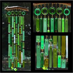 stained glass wind chimes plans | Recycled Beach Glass Inspired Wind Chimes Emerald by sarahsnature