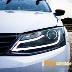 BRIGHT [Glow LED Strip] 2011-2014 VW Jetta MK6 MK-6 Projector Headlights Black #SDTuning