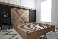 How we created our West Elm inspired DIY herringbone reclaimed wood bed with step by step photos details about how to create your own. Reclaimed Wood Headboard, Reclaimed Furniture, Salvaged Wood, Industrial Furniture, Vintage Industrial, Diy Wooden Headboard, Diy King Headboard, Reclaimed Wood Frames, Refinished Furniture