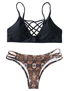 4de9aa056eae60 Amazon.com  SweatyRocks Women s Bathing Suit Adjustable Spaghetti Strap  Floral Print Criss Cross Bikini