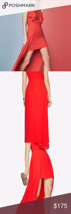 Tanika High-Low BCBG Gown In smooth crepe that has a medium-weight feel, this high-low evening gown is detailed with draped ruffles for added evening elegance. Worn once for a wedding, dry cleaned and looks brand new. BCBGMaxAzria Dresses High Low