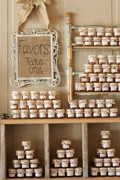 A great display for the favors! I love the sign!