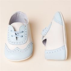 Boys Blue & Ivory Wingtip Shoes