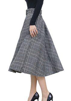 Centralsky Autumn Winter Women's A Line Woolen Plaid Skirt (S, Blue)