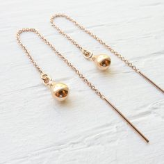 Thread Earrings Rose Gold Threader Earings Ear Threads Rosegold Jewelry