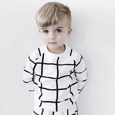 Grid Sweatshirt in White and Black by Hugo Loves Tiki - Junior Edition  - 2