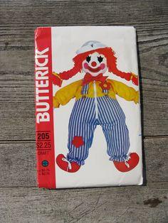 1970s butterick 205 sewing pattern clown by rivertownsupplies