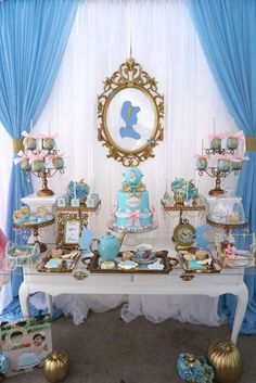 Amazing pink and blue Cinderella birthday party! See more party ideas at CatchMyParty.com!