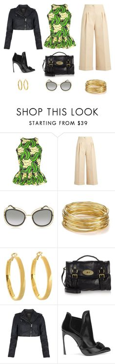 """how to wear this print top"" by edith-a-giles ❤ liked on Polyvore featuring FAIR+true, Fendi, Chloé, R.J. Graziano, Kate Spade, Mulberry, AllSaints and Sergio Rossi"