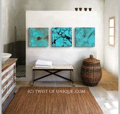 Oxidized copper abstract Painting - CUSTOM 3 square ( 15 Inch x 15 Inch) abstract wall art, - blue turquoise, green turquoise, Copper Industrial Paintings, Watercolor On Wood, Painting Concrete, Square Art, Abstract Wall Art, Painting Abstract, Orange Painting, Black Decor, Diy Wall Art