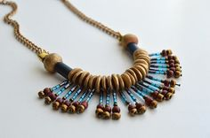 Turquoise Brown Gold Necklace by civcakli on Etsy