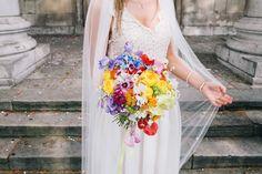 Bright Bridal Bouquet | Warehouse wedding venue in London | City Wedding | Ribbon Decor | Rime Arodaky wedding dress | Bright yellow and orange Colour scheme | Hobbs Bridesmaid dresses | Images by Robbins Photographic | http://www.rockmywedding.co.uk/yvonne-jimmy/