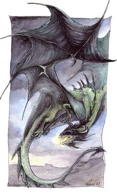 Green Dragon in Flight by *drakhenliche on deviantART