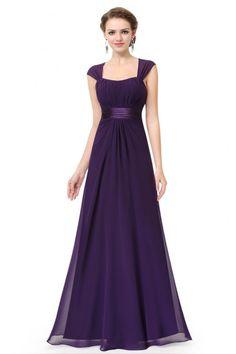 25219ef68bc Dark Purple Chiffon Square Neck Long Bridesmaid Dress -  56  EP08834DP -  SheProm.com