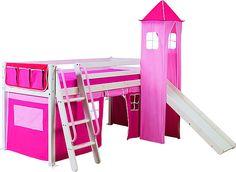 Une cabane à composer soi-même. A la base, un lit surélevé de 90 x 190 cm en pin massif, vendu sans matelas. 139 €. On y a ajouté une tour de H 198 cm en pin massif habillé d'un tissu rose, 29,90 €, et d'un rideau, 19,90 €. Roxy. Conforama.