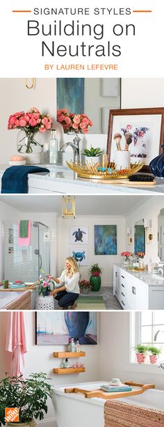 Fashion blogger Lauren Lefevre  keeps her Atlanta  home on-trend by combining neutral investment  pieces with bright,  fun  decor. Blush-toned  accents add warmth  to her crisp white  bathroom,  while splashes of rich blue and energetic green add visual  interest. Click to see more stylish  accessories.