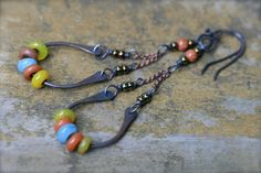 Boho I  rustic dangling Indonesian glass and by LittleSoulsStudio, $30.00