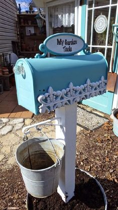 ">> Clever repurposing for housing garden tools!""> Our Garden Path >>> Clever repurposing for housing garden tools! Old Mailbox, Mailbox Garden, Mailbox Landscaping, Lawn And Garden, Garden Paths, Garden Landscaping, Home And Garden, Mailbox Ideas, Mailbox Post"