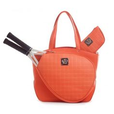 Slam Glam - Court Couture Cassanova Quilted Tangerine Tennis Tote.  NEW!  Quilted details make for a beautiful look!
