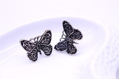 Vintage silver plated butterfly stud earrings Vintage Silver, Silver Plate, Plating, Butterfly, Stud Earrings, Things To Sell, Design, Silverware Tray, Studs