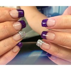 Glitter Purple and Silver French Tip a Acrylics Set #nails #nailfun