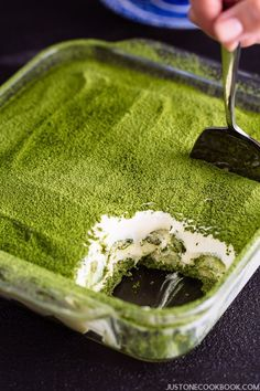 Matcha Tiramisu in a clear glass baking sheet, showing the beautiful layers of matcha tiramisu.