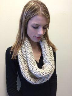 Knit Infinity Scarf  Cowl Oatmeal by EterKnityCreations on Etsy