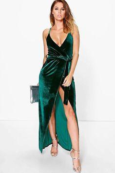 Pia Velvet Wrap Tie Maxi Dress Was $40 Now $28 At BooHoo Emerald green Pia velvet wrap tie maxi dress https://api.shopstyle.com/action/apiVisitRetailer?id=604305018&pid=uid841-37799971-81