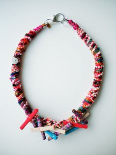 Ooak Statement necklace fabric necklace Avantgarde by JIAKUMA