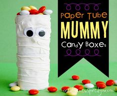 These adorable paper tube mummy candy boxes, wrapped in sport tape and filled with the nicest treats, with their wiggly big eyes.