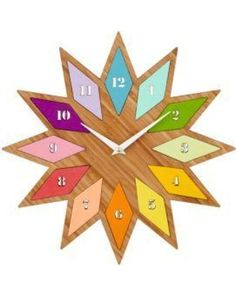 The Land of Nod Kids Clocks: Chromatic Colors Bamboo Wall Clock from Land of Nod | Shop Parents.com