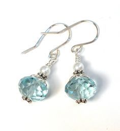 Light Blue Earrings - Crystal and Glass Pearl Sterling Silver