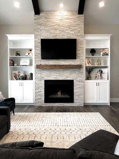 New DIY Fireplace Ideas – Farmhouse Fireplace Mantels Fireplace Built Ins, Home Fireplace, Living Room With Fireplace, Fireplace Design, Fireplace Ideas, Modern Stone Fireplace, Built In Around Fireplace, Stacked Stone Fireplaces, Basement Fireplace