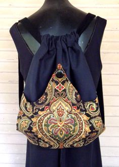 Tapestry Boho Bag Drawstring Bag Black Velvet by piperscrossing