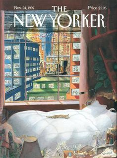 Draw Cats The New Yorker Cover - November 1997 Poster Print by Jean-Jacques Sempé at the Condé Nast Collection - Luxurious Quiet And Cozy by Jean-Jacques Sempe The New Yorker, New Yorker Covers, New Yorker Cartoons, Posters Vintage, Photo Chat, Poster Prints, Art Prints, Magazine Art, Magazine Covers