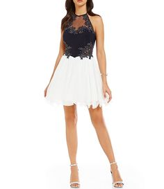 Blondie Nites Embroidered Bodice Color Block Fit-and-Flare Party Dress