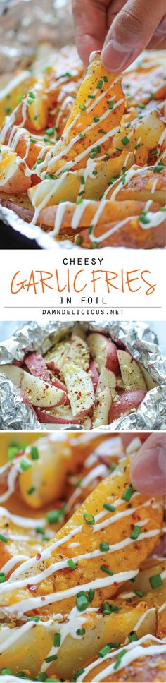 Cheesy Garlic Fries in Foil - The easiest, cheesiest fries you will ever make in foil packets, baked to absolute crisp perfection! (Maybe a neat camping food) I Love Food, Good Food, Yummy Food, Tasty, Great Recipes, Favorite Recipes, Food Porn, Snacks Für Party, Le Diner