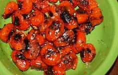 Pan Roasted Tomatoes:  Grape or Cherry tomatoes  Olive Oil  Sea Salt  Sugar  Crushed Garlic or Herb of your choice    Start heating your skillet, I use cast iron. Wash and dry the tomatoes. Toss the tomatoes with olive oil, a touch of sugar and pinch of salt. When the pan is smokin' hot, add the tomatoes and blacken them on all sides. The longer you cook it the sweeter the tomatoes will become.  Remove from pan and sprinkle a little coarse grind sea salt and garlic or herb on your tomatoes. Pinch Of Salt, Wash N Dry, Roasting Pan, Roasted Tomatoes, Tossed, Cherry Tomatoes, Sea Salt, Skillet