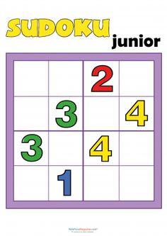 Game sudoku Digital illustration of sudoku for children. You put the 4 n , Math Activities For Kids, Math For Kids, Worksheets For Kids, Math Games, Brain Based Learning, Teaching Social Skills, Kids Learning, Sudoku Puzzles, Logic Puzzles