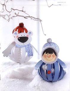 Белый МЕДВЕДЬ и ДЕВОЧКА Эскимоска - Снегурочка - Игрушки на елку своими руками, Поделки, Подарки к Рождеству, Новому году в технике бумажных шаров