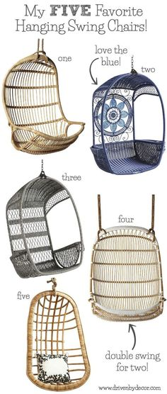 Five great choices for hanging swing chairs for your bedroom, patio, or even your living room!