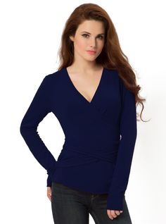 Wrap Sweater 3-032 in Blue, for a big bust