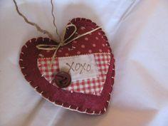 Valentine Country Red Felt and Fabric XOXO by GTcottagecrafts, $3.99