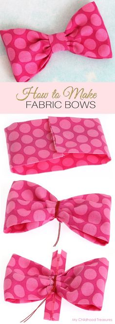 Do you want to decorate your latest project with cute DIY fabric bows? Learn how to make fabric bows for hair clips & clothing in under 10 minutes! Fabric Hair Bows, Diy Hair Bows, Fabric Flowers, Fabric Ribbon, Fabric Bow Tutorial, Bow Pattern, Toddler Bows, Diy Baby Gifts, Diy Headband
