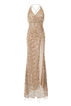 4a15f9f92df NAZZ COLLECTION SIREN NUDE PLUNGE GOLD SEQUIN TASSEL FRINGE THIGH SLIT FISHTAIL  DRESS