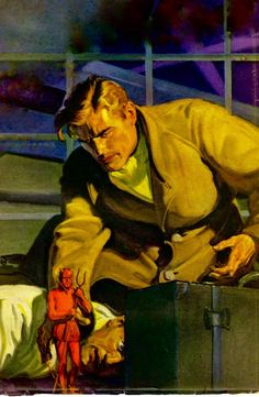 DOC SAVAGE: THE SEVEN AGATE DEVILS original Doc Savage pulp magazine cover painting.
