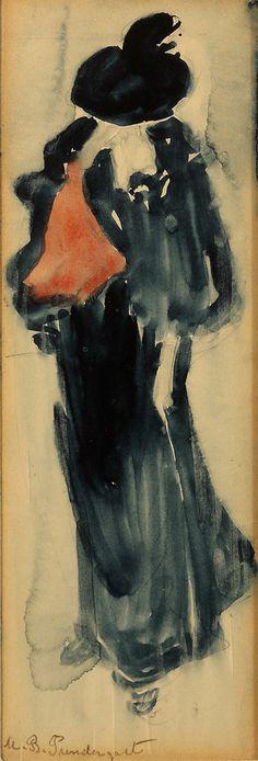 """Woman on a Paris Street,"" Maurice Prendergast, 1890, watercolor, 8 ½ x 3"", Collisart, LLC."